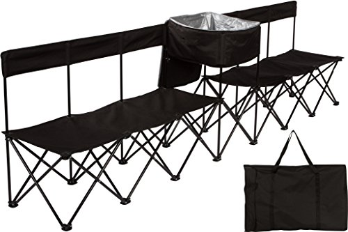 Trademark Innovations 13.5' Portable 8-Seater Folding Team Sports Sideline Bench with Attached Cooler & Slat Fabric Back (Black)