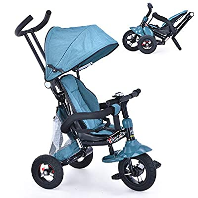 6-in-1 Toddler Tricycle with Adjustable Canopy, Detachable Guardrail, Harness, Folding Footrest, Brake, Folding Push Baby Tricycle for 1 2 3 Years Old by UBRAVOO