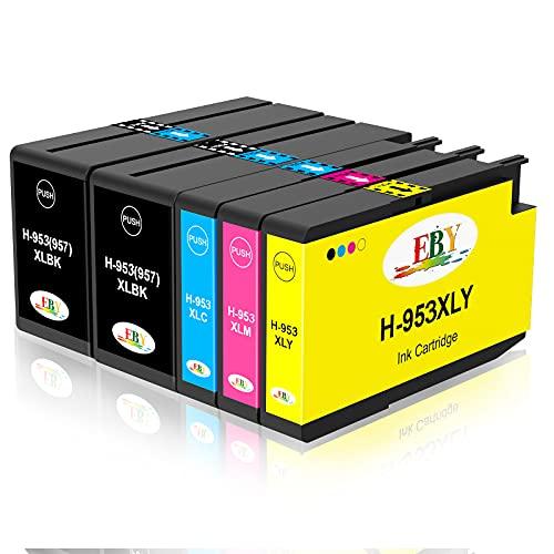 EBY 953XL Cartuchos Reemplazo para HP 953 XL Pack Compatible con HP Officejet Pro 7740 7720 8710 8210 8715 8720 8725 7730 8718 8218 8728 8730 8740 (2 Negro/1 Cian/1 Magenta/1 Amarillo)