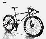 MJY Bicicleta de carretera, bicicletas de 24 velocidades de 26 pulgadas, freno de doble disco, cuadro de acero de alto carbono, carreras de bicicletas de carretera, hombres y mujeres adultos 6-24,GRA