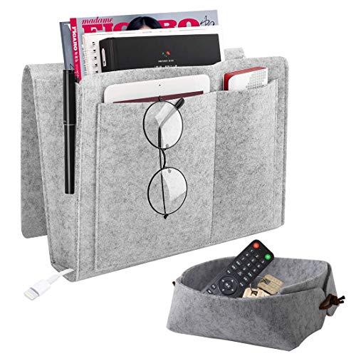 KECRULV Filz Betttasche, Filz Aufbewahrungstasche Hängeaufbewahrung Große Kapazität 5 Taschen mit Faltbare Aufbewahrungsbox, für Nachttisch, Sofa, Buch, Zeitschriften, iPad, Handy, Fernbedienung