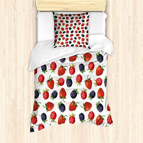ABAKUHAUS Frutas Funda Nórdica, Fresas Frambuesa, Decorativo, 2 Piezas con 1 Funda de Almohada, 135 x 200 cm, Ciruela roja