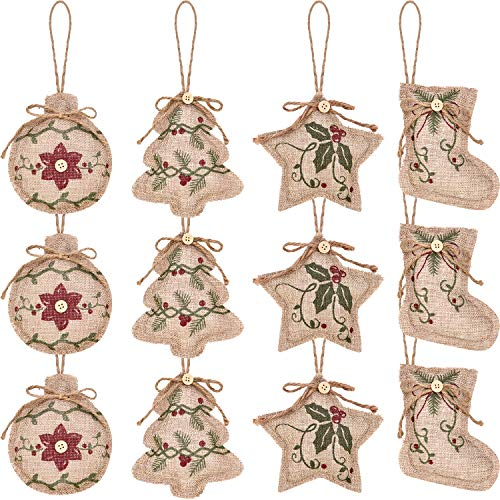 Jetec 12 Pieces Christmas Burlap Tree Ornaments Hanging Decorations Christmas Stocking Tree Ball Shaped Decor for Christmas Party, 4 Styles (Color 2)