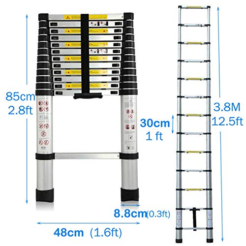 Bowoshen Telescoping Ladder 12.5ft Aluminum Telescopic Extension Multi Purpose Steps Non-Slip 330 lbs Capacity for Indoor Outdoor Work