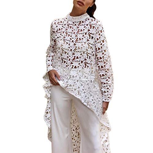 Damen Lace Casual Tops Aushöhlen Langarm Bluse Tshirts O-Neck Blusentops Freizeit Fransen Long Shirts Damen Herbst Vorne Kurz Hinten Lang Unregelmäßige Saum Bluse Tops