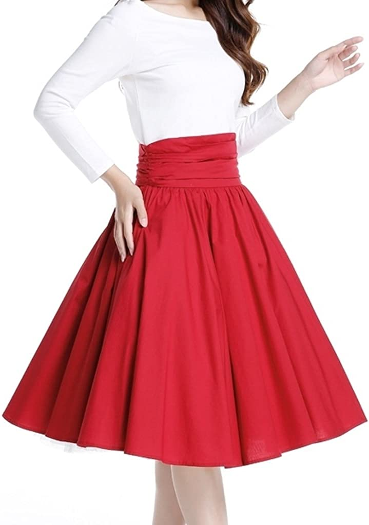 (XS-XXL) Coffee Date - Red Retro Lindy Bop High Curved Waist Ruched Skirt