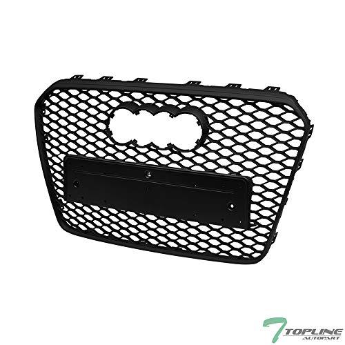 Topline Autopart Matte Black RS-Honeycomb Mesh Front Hood Bumper Grill Grille ABS For 13-16 Audi A5 / S5 B8.5