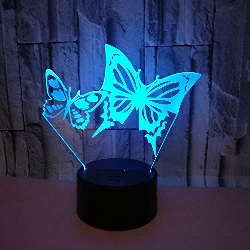 DKEE Lámpara de mesa dos mariposas LED colorido gradiente 3D estereoscópico táctil remoto USB noche luz creativa escritorio decorativo cumpleaños 20 * 13 cm