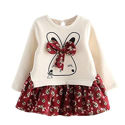 Hawkimin_Babybekleidung Hawkimin Baby Mädchen scherzt Baby Karikatur Kaninchen Häschen Blumen Prinzessin Party Dress Kleider