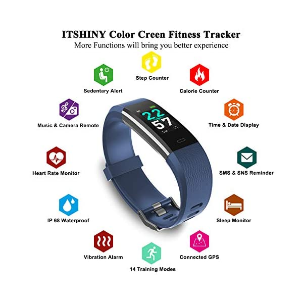 ITSHINY Pulsera Actividad Hombre Mujer, Pulsera Actividad Inteligente Reloj Pulsómetro Impermeable IP68 Podómetro… 5