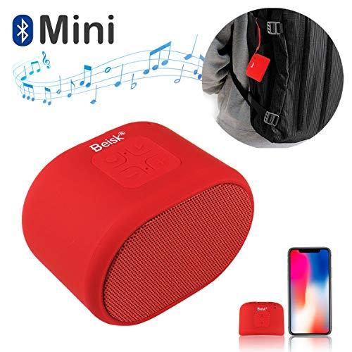 Beisk, Mini Altavoz Bluetooth Portátil, con 8-10 Horas de Reproducción, Sonido Estéreo 360º, Radio FM, TWS, Ideal para Camping, Playa, Viaje, Fiesta, Hogar, Color Rojo