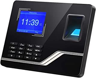 Aibecy Biometric Fingerprint Password Time Attendance Machine with 2.8 Inch TFT Screen Battery Employee Checking-in Recorder Reader Time Clock Support USB Disk Ethernet Interface Multi-Language