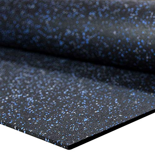 IncStores 1/4 Tough Rubber Roll (4' x 10') - Excellent Gym Floor mats for Medium/Large Equipment and Light/Moderate Free Weights (1 Mat - 4'x10' Blue/Grey)
