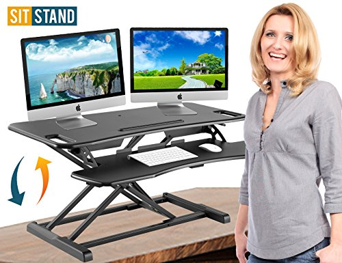 Standing Desk Stand Up Desks Height Adjustable Sit Stand Converter Laptop Stands Large Wide Rising Black Dual Monitor PC Desktop Computer Riser Table Workstation Foldable Extender Ergonomic 37 inch
