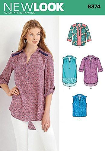 New Look Damen-Schnittmuster 6374 für Bluse, Hemd, Oberteile in 4 Stilen