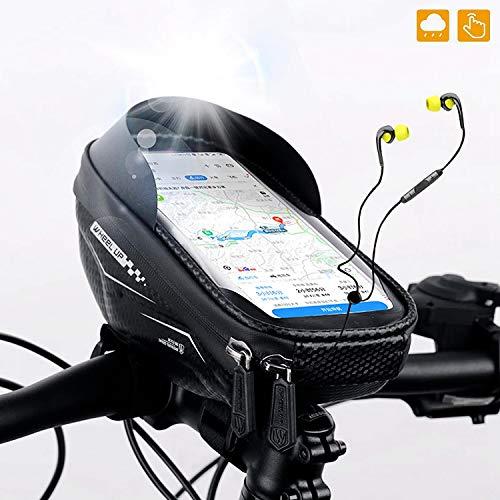 Bolsa Bicicleta Manillar, Bolso de Bici Impermeable con Ventana para Pantalla Táctil para Telefono Móvil, Soporte para Teléfono Celular para Teléfono Inteligente de Menos de 6.5 Pulgadas