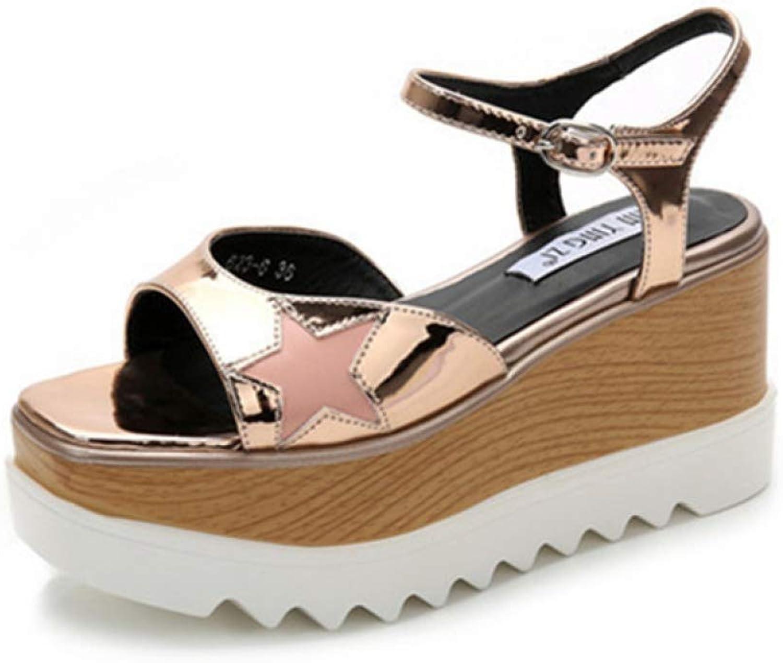 Women's Star Non-Slip Wedge Thick Platform High Heels Sandals Adjustable Buckle Strap Casual Sandal