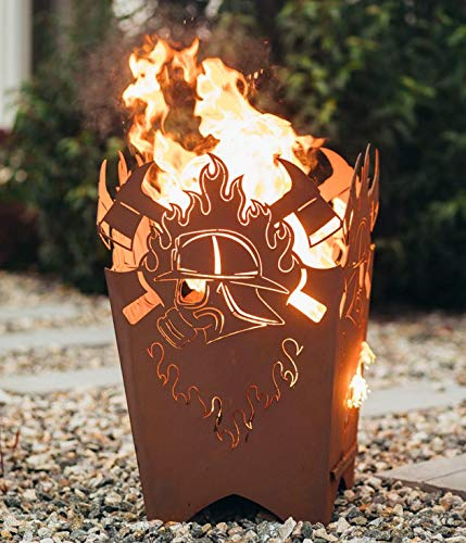 Garten Himmel Feuerkorb Atemschutz eckig