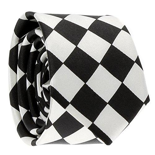 Cravate Noire et Blanche Losanges Grands - Cravate Originale