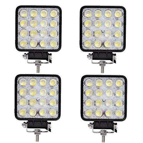 SAILUN Lot de 4 projecteurs de travail à LED 48 W - Réflecteur - Projecteur de travail - 1600 lm - Noir - Aluminium moulé sous pression IP67