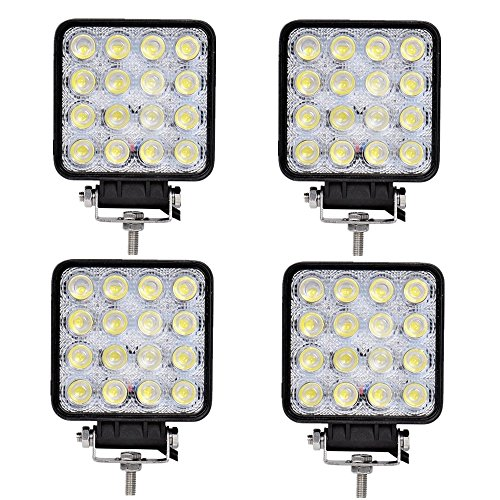 SAILUN Arbeitslicht 4x48W LED Offroad Flutlicht Spotlight Reflektor Scheinwerfer Arbeitsscheinwerfer 2800LM Schwarz Aluminium Druckguss IP67 (4 * 48W Quadrat)