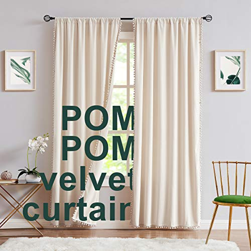 """Ivory Velvet Curtains for Bedroom 95inches Pom Pom Decorative Luxury Cream Window Curtain Drapes for Living Room 42"""" W x2pc Rod Pocket"""