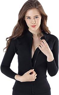 Micosuza Women's Wetsuit Jacket Premium Neoprene 1.5mm Long Sleeve Front Zip Wetsuit Top