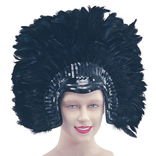 Headdress Feather Deluxe Black (disfraz)