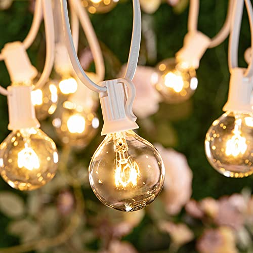 Outdoor String Lights 8.6 M / 28 Feet G40 Globe Patio Lights with 27 Edison Glass Bulbs (2 Spare), Waterproof Connectable Hanging Lights for Backyard Porch Balcony Party Decor, E12 Socket Base, White