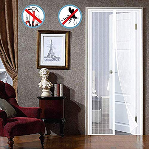 HXPH Magnet Flying Curtain Balcony Door Insect Screen, Magnetic Curtain Free, Mosquito Net Magnetic Lock, Full Frame, Living Room Balcony Door - White 110x200cm