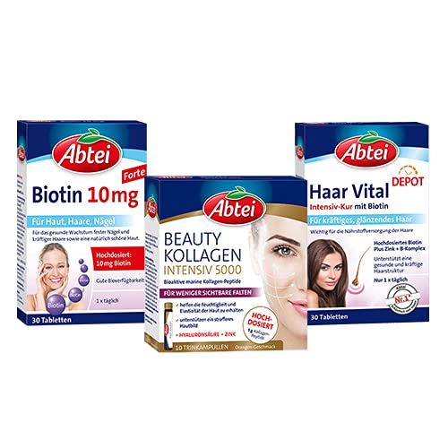 Abtei – Zeit für Schönheit von innen – Beauty Kollagen Intensiv 5000 + Biotin + Haar Vital Intensiv Kur – für gesunde Haut, Haare, Nägel