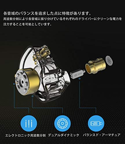 KZZSNPro重低音イヤホン1BA+1DDを搭載ハイブリッドイヤホンカナル型高遮音性イヤホン高音質中華イヤホン2pinリケーブル可能ジュラルミンフェイスプレート搭載3.5mmプラグ(ZSNPro銀‐紫・マイクなし)