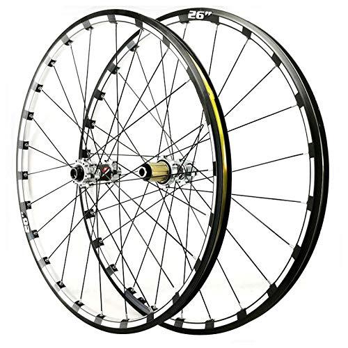 ZNND 26 27.5 Pulgadas Juego Ruedas Bicicleta Eje Pasante Freno Disco Ruedas Traseras Delanteras Borde Doble Pared 24 Hoyos para Casete 7 8 9 10 11 12 Cubo (Color : Silver Hub, Size : 27.5inch)