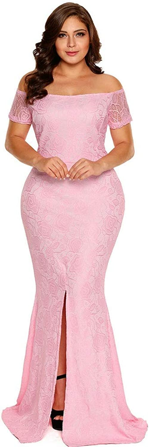 Fashion Evening Dress Lace Sexy Strapless Shoulder Split Long Tail Skirt Ball Gown