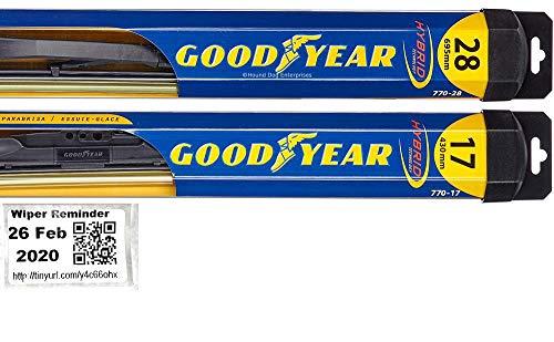Hybrid - Windshield Wiper Blade Set/Kit/Bundle for 2007-2018 Nissan Altima - Driver & Passenger Blades & Reminder Sticker