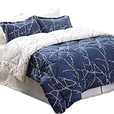Bedsure 8 Piece Comforter Set King Size(102 X90 ) Navy/Camel Branch Down Alternative Bed in A Bag (Comforter,2 Pillowshams, Flat Sheet, Fitted Sheet, Bed Skirt,2 Pillowcases)