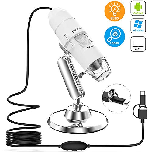 Microscopes Digital, 1080P 800X USB Magnification Microscopy with 8 LED,12 Pack Slide Collection