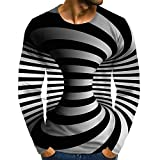Men's Daily Plus Size T-Shirt Graphic 13D Print Print Long Sleeve Tops Streetwear Exaggerated Round Neck Rainbow
