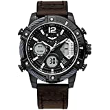 FEICE Men's Watch Military Wristwatches Multifunction Chronograph Sport Watch Quartz Analog-Digital Waterproof Watches 24H Leather Strap Luminous Stopwatch Business Watches for Men- FK038 (Black)