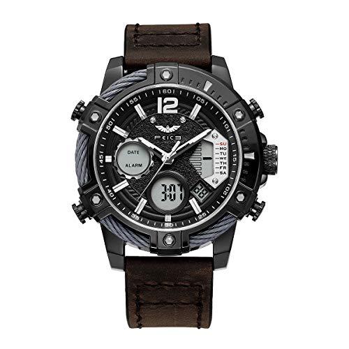 FEICE Herren Armbanduhr mit japanischem Quarzwerk Wasserdichtes Multifunktionslederarmband-FK038