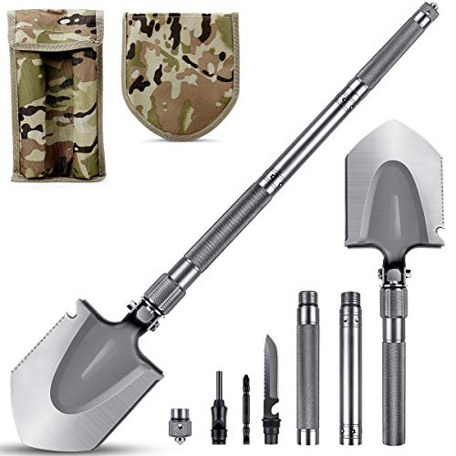 MOSFiATA Camping Shovel 75cm Military Folding Shovel, 16 All in Function...