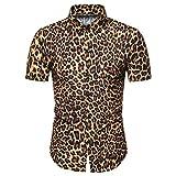 Henley Camisa Hombre Moda Leopardo Estampado Hombre Deportiva Camisa Verano Botón Placket Manga Corta Shirt Clásico Moderno Urbano Negocios Casual Hombre Polo Shirt B-Yellow M
