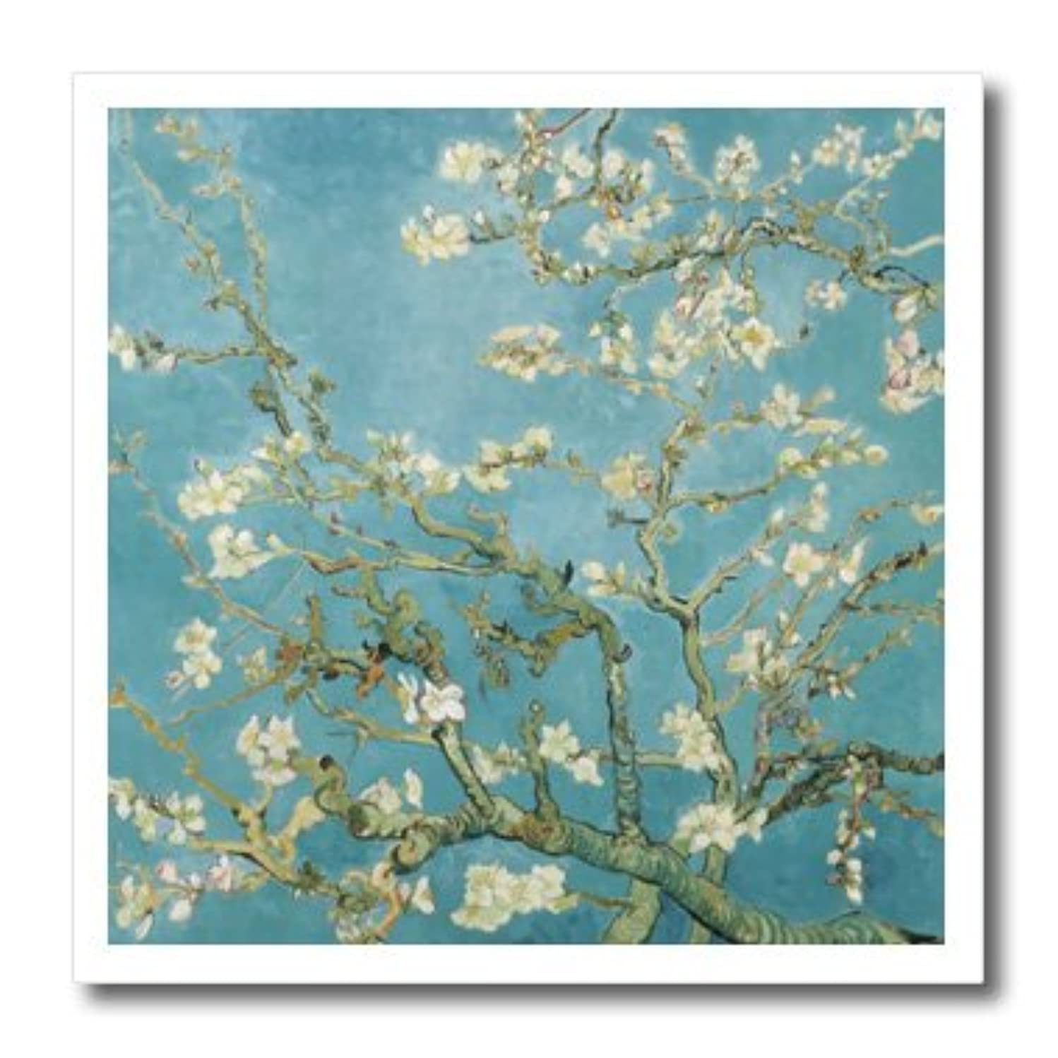 3dRose ht_155640_3 Vincent Can Gogh Classical Famous Fine Art Almond Blossoms 1890 White Flowers and Branches on Blue Iron on Heat Transfer for White Material, 10