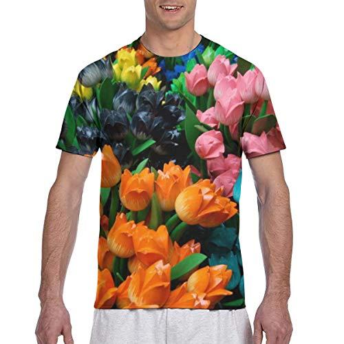 WoodWorths Tulips In Amsterdam Men Short Sleeve tee Colorful Tshirt Tees Casual(XL,Black)