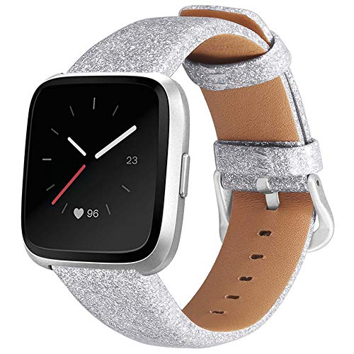 QINJIE Correa Compatible con Fitbit Versa Bling Glitter Leather Wristband Sparkly Wristband Reemplazo para Mujeres niñas,Plata