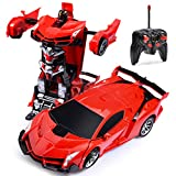 RC Car for Kids Transform Car Robot, Remote Control Super Car Toys with One-Button Deformation and 360°Rotating Drifting 1:18 Scale , Best Happy New Year Birthday Gifts for Boys Girls (Red)