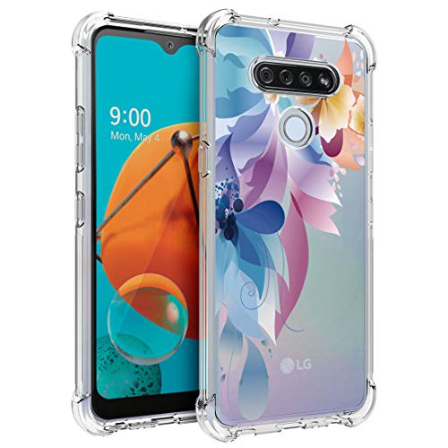 Osophter for LG K51 Case,LG Reflect Case Clear Flower for Girls Women Transparent Reinforced Corners TPU Shock-Absorption Flexible Cell Phone Cover for LG K51(Colorful Painting)