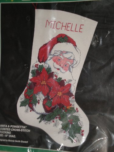 Santa and Poinsettia Counted Cross Stitch Stocking Kit