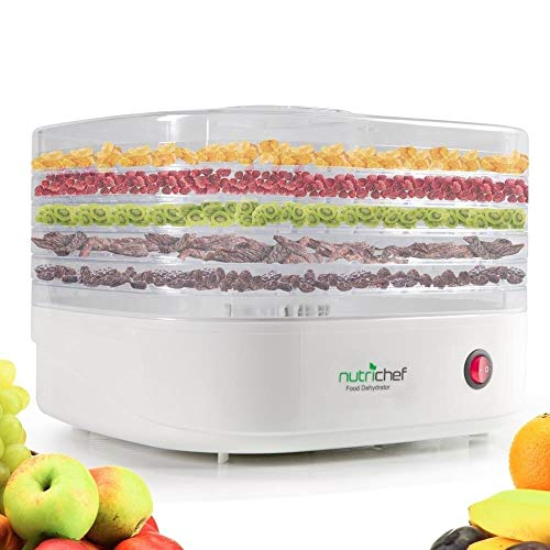 NutriChef Food Dehydrator Machine - Professional Electric Multi-Tier Food Preserver, Meat or Beef Jerky Maker, Fruit & Vegetable Dryer with 5 Stackable Trays, High-Heat Circulation - PKFD06