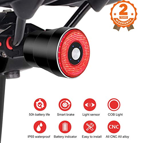 Intelligente bici Fanale posteriore,USB ricaricabile della luce della bici impermeabile luce della coda luminosa eccellente della bicicletta,4 modalità,400mAh batteria,indicatore di potere per la Luc